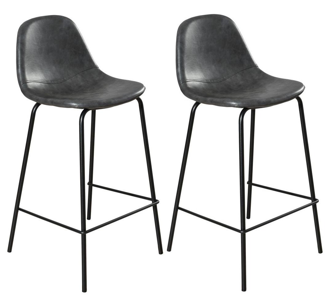Lot De 2 Chaises Bar Effet Couture Apparente En Metal Et Tissu Noir 41x45x87cm TIM