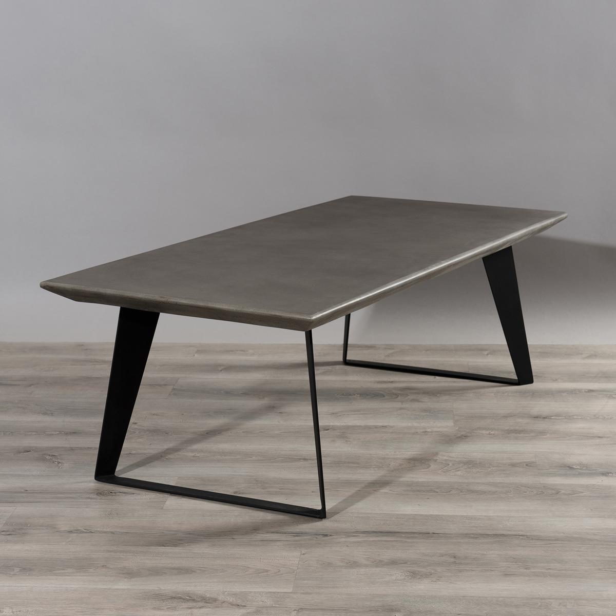 Table Basse Plateau Beton Gris Fonce Et Pieds Metal Noir