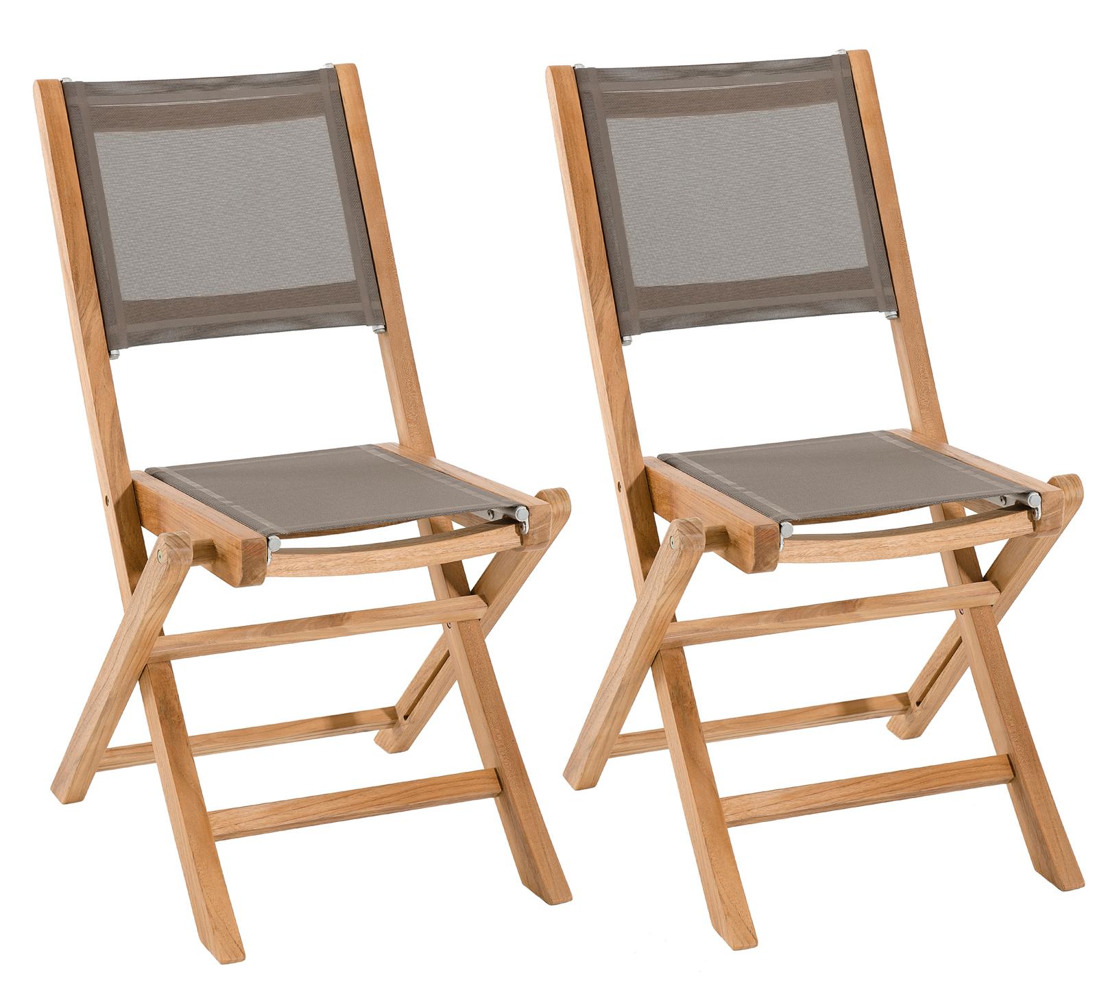 Lot de 2 Chaises de Jardin pliantes Teck Textilène taupe SUMMER ref ...