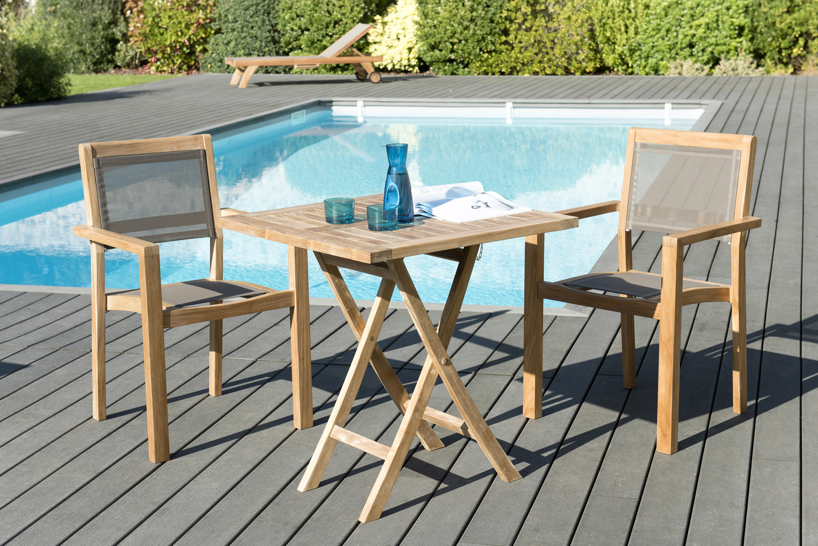Salon de Jardin Table Teck 70x70cm + 2 Fauteuils empilables SUMMER ...