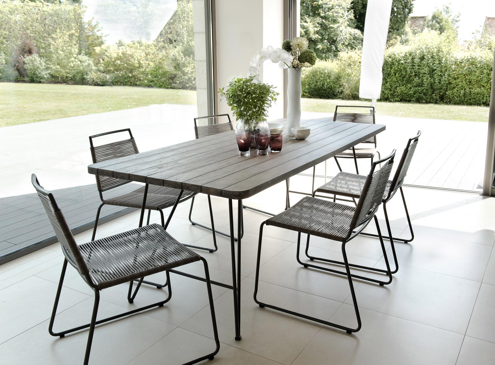 Salon de Jardin Table Teck 200x90cm + 6 chaises Jardin DETROIT ref. 30020823