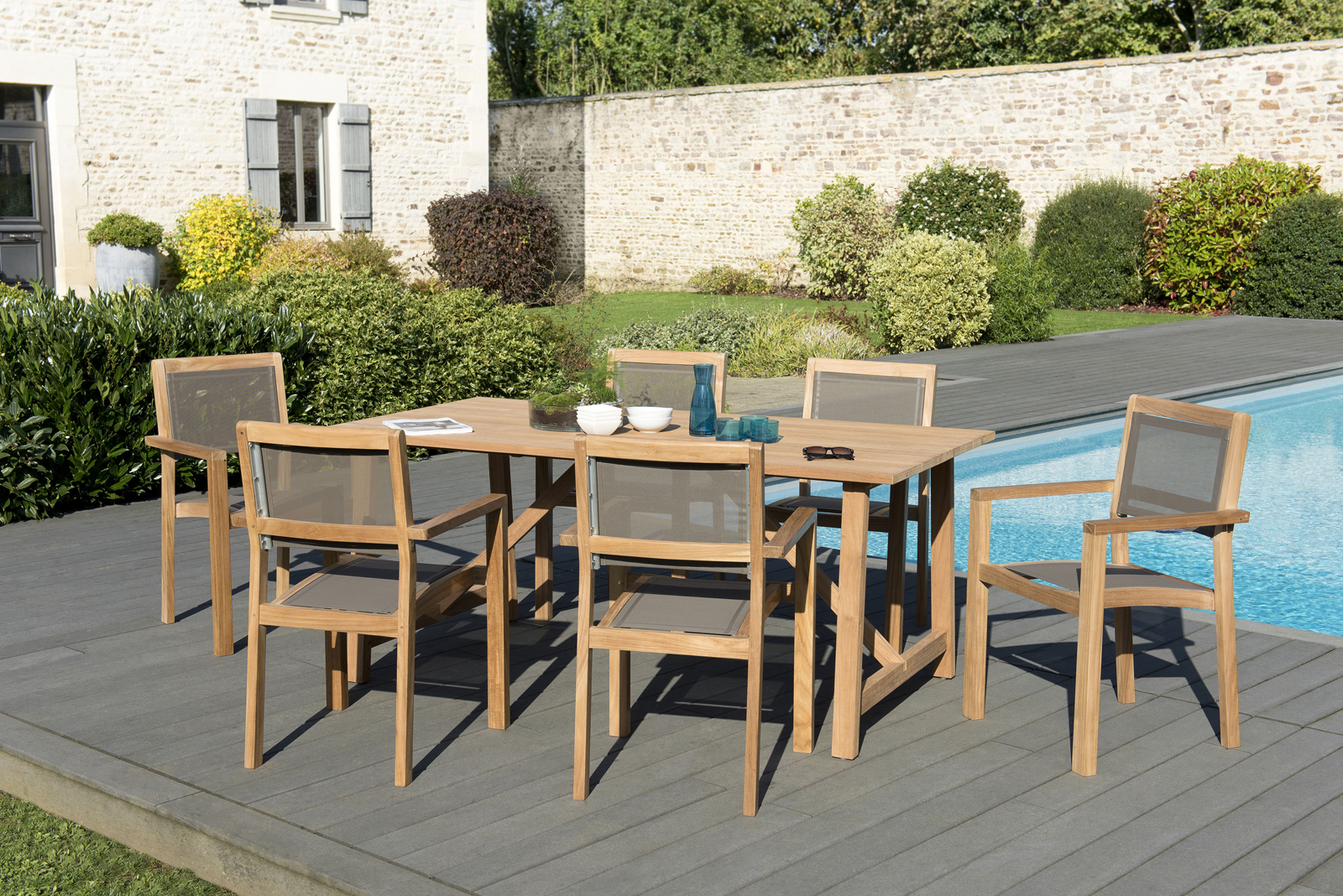 Salon de Jardin Teck Table 180x90 + 6 fauteuils empilables BERGEN ...