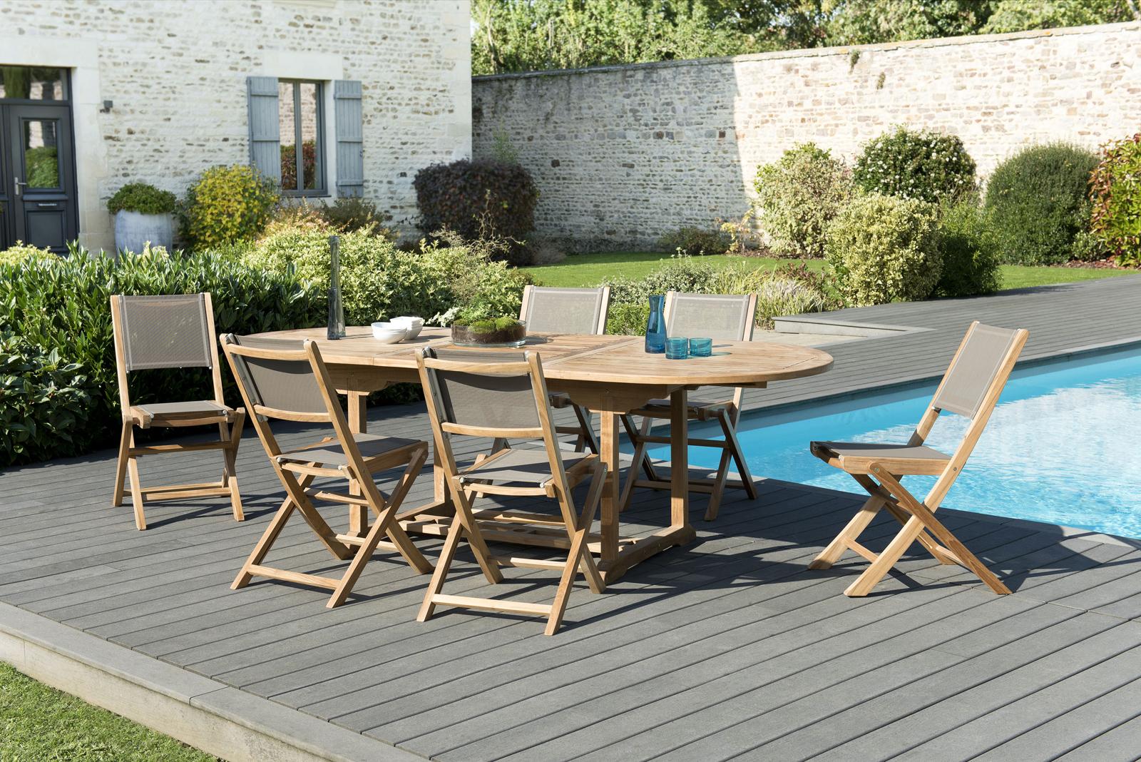 Teck Salon 1802406 Extensible Chaises De Ovale Jardin Table WrxeBodC