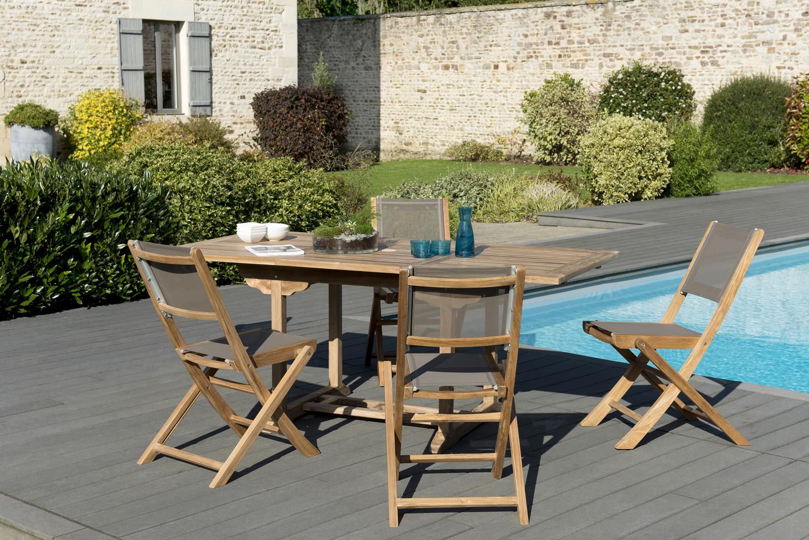 Salon de Jardin Teck Table extensible 120/180 + 4 chaises pliantes ...