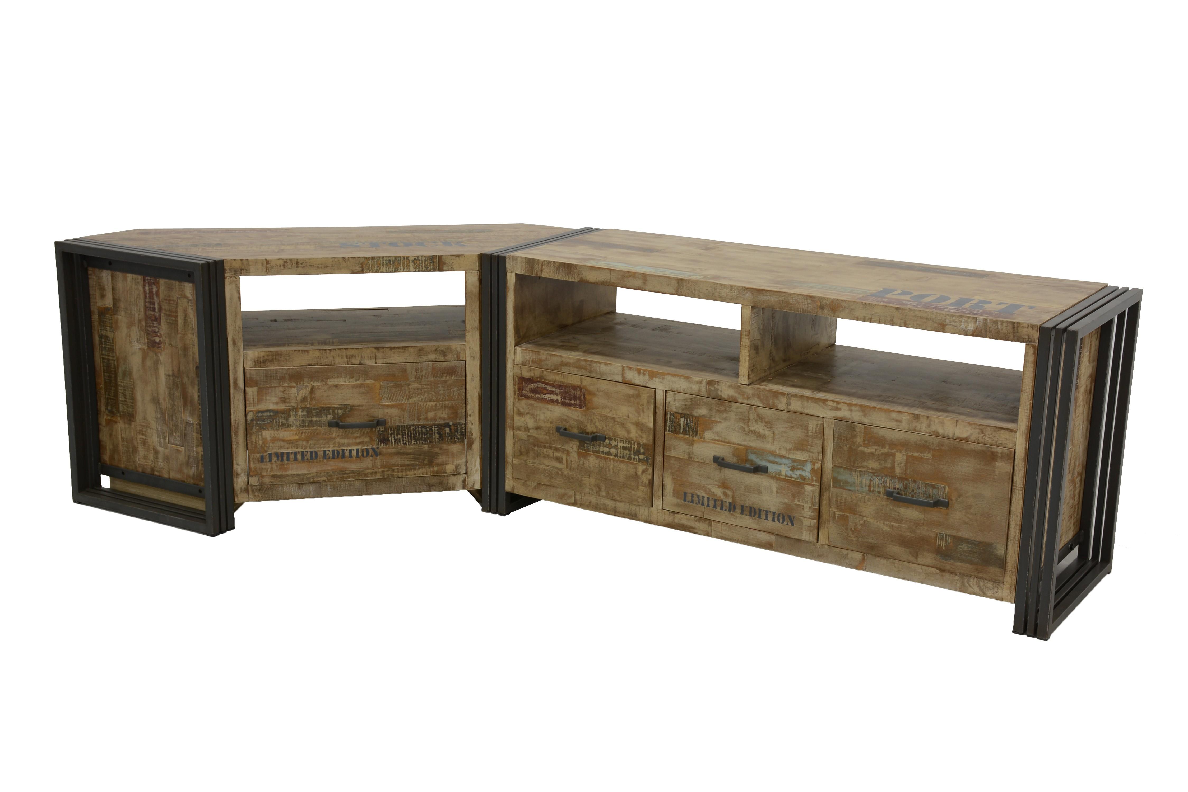 Meuble Tv Angle Suspendu meuble tv d'angle hévéa recyclé blanchi et métal noirci 1 tiroir 1 niche  115x40x55cm docker