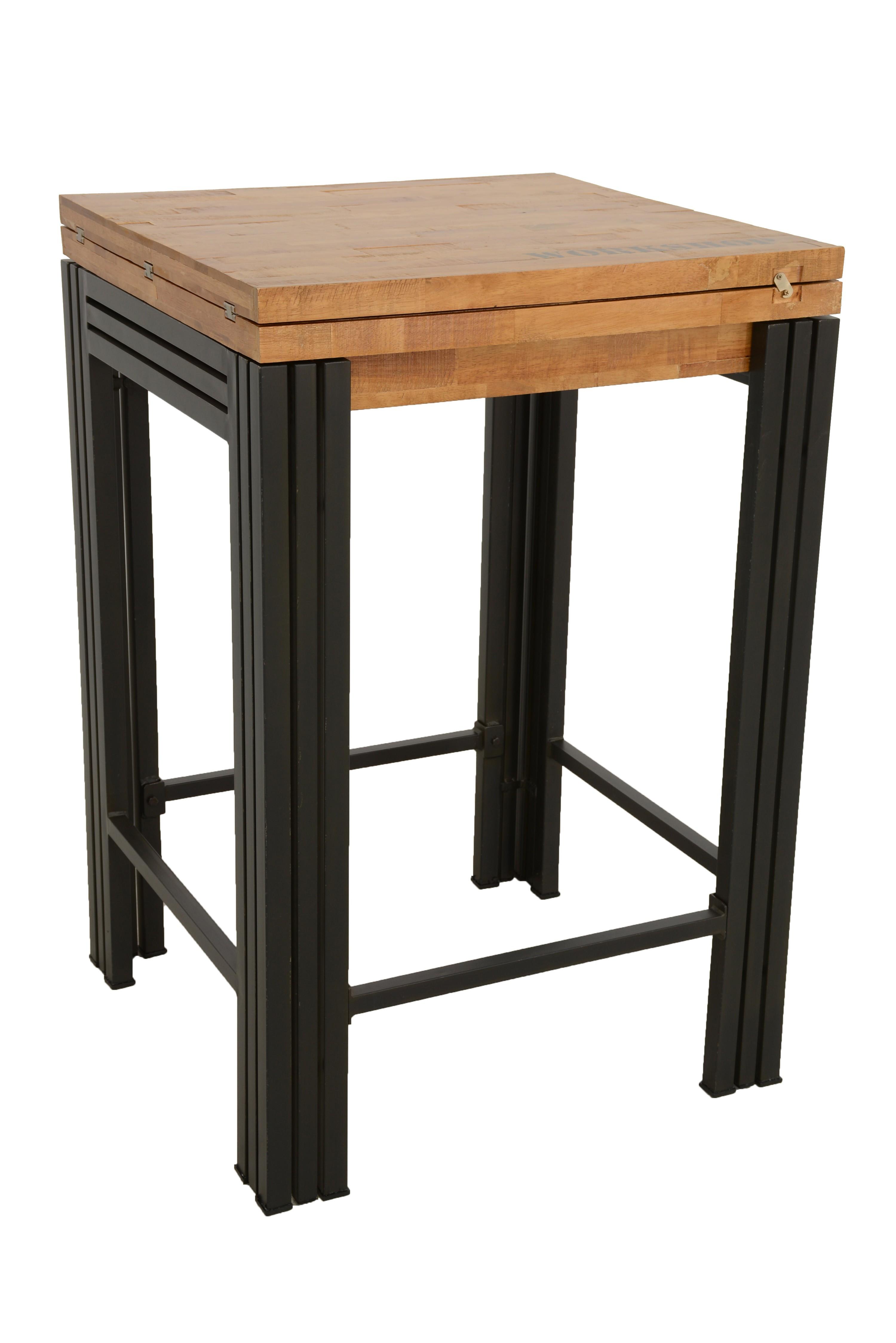 Table bar mange debout carr e extensible h v a recycl Table bois metal extensible