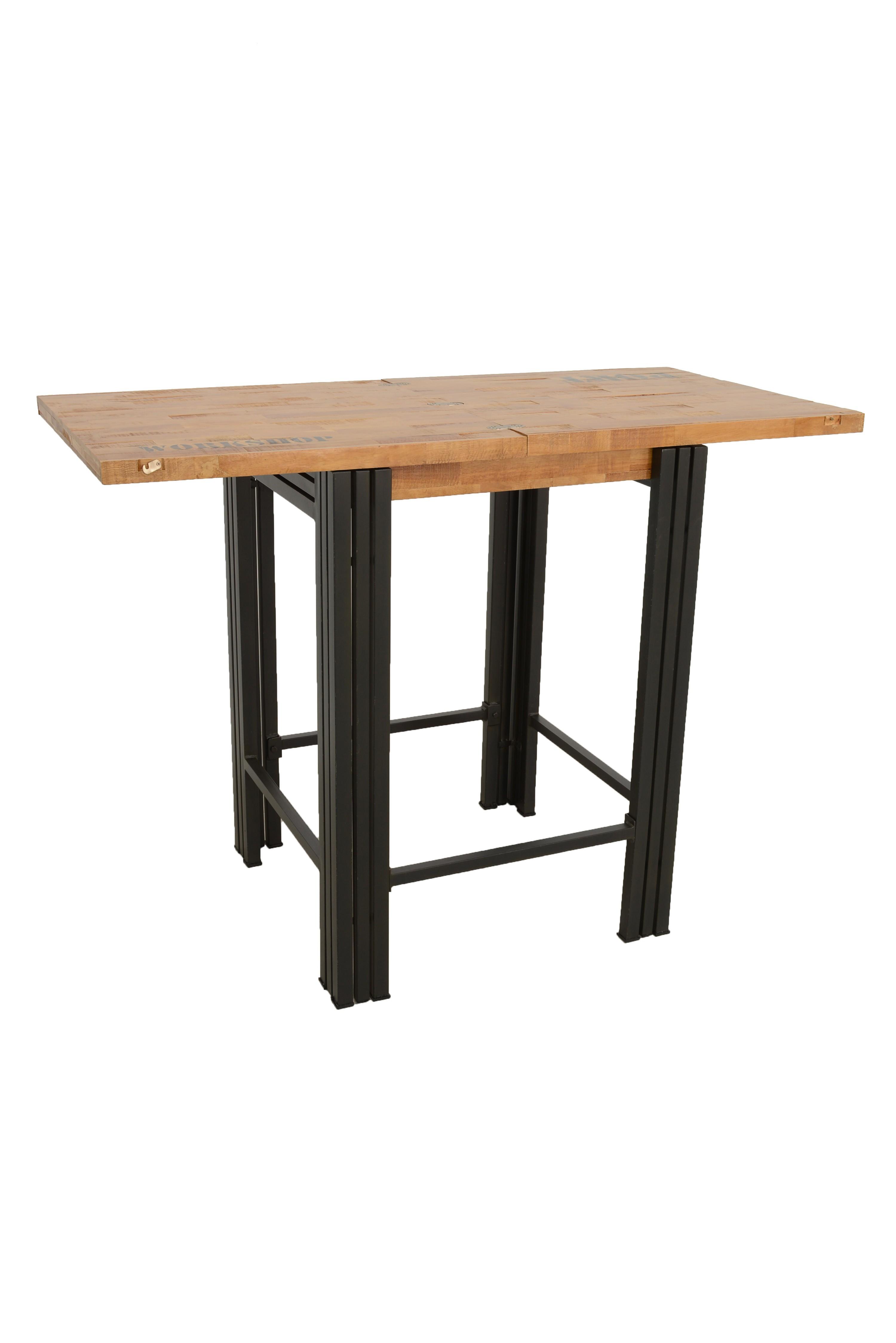 Bar Extensible: Table Bar / Mange Debout Carrée Extensible Hévéa Recyclé