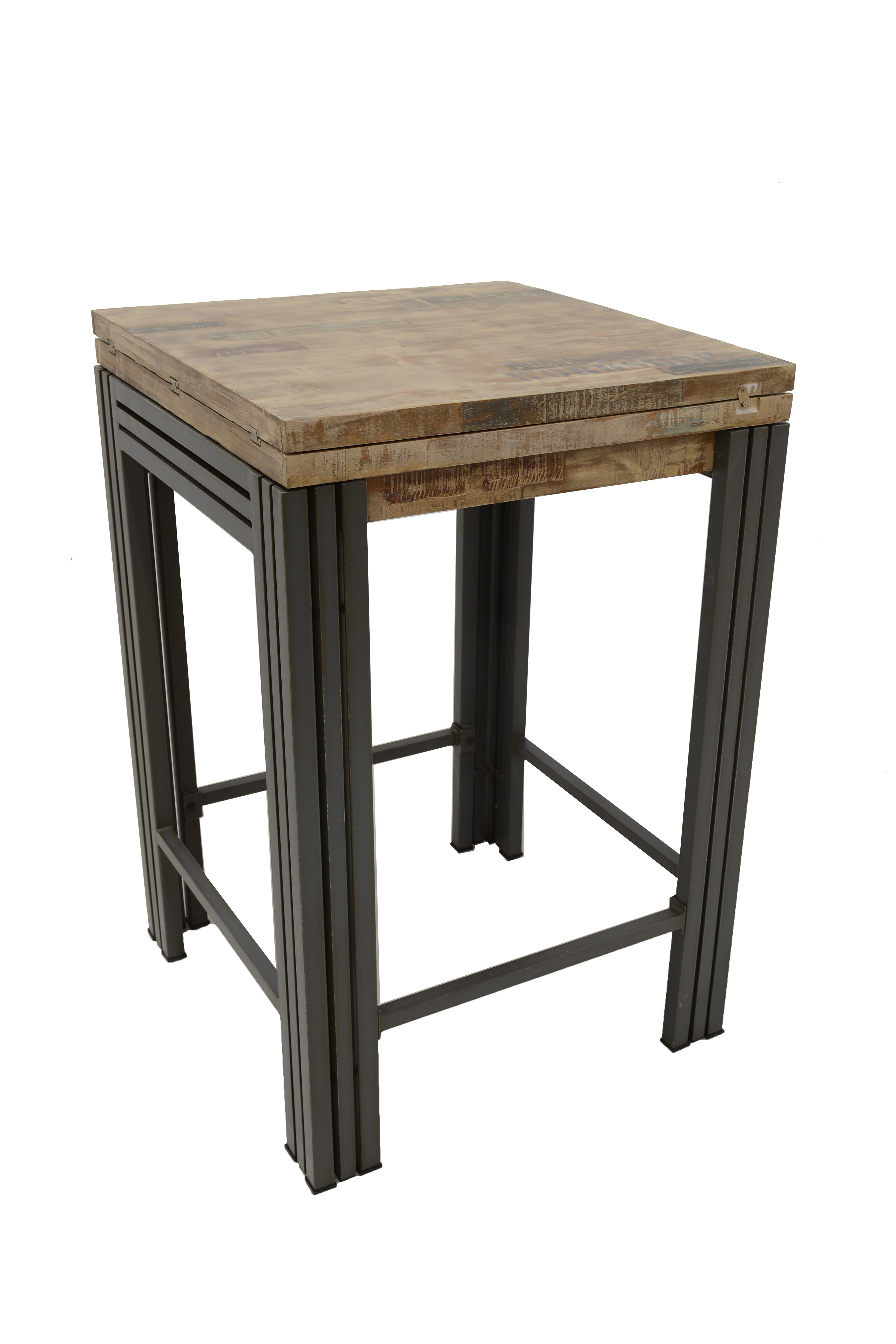Table Bar Mange Debout Carree Extensible Hevea Recycle Blanchi Et