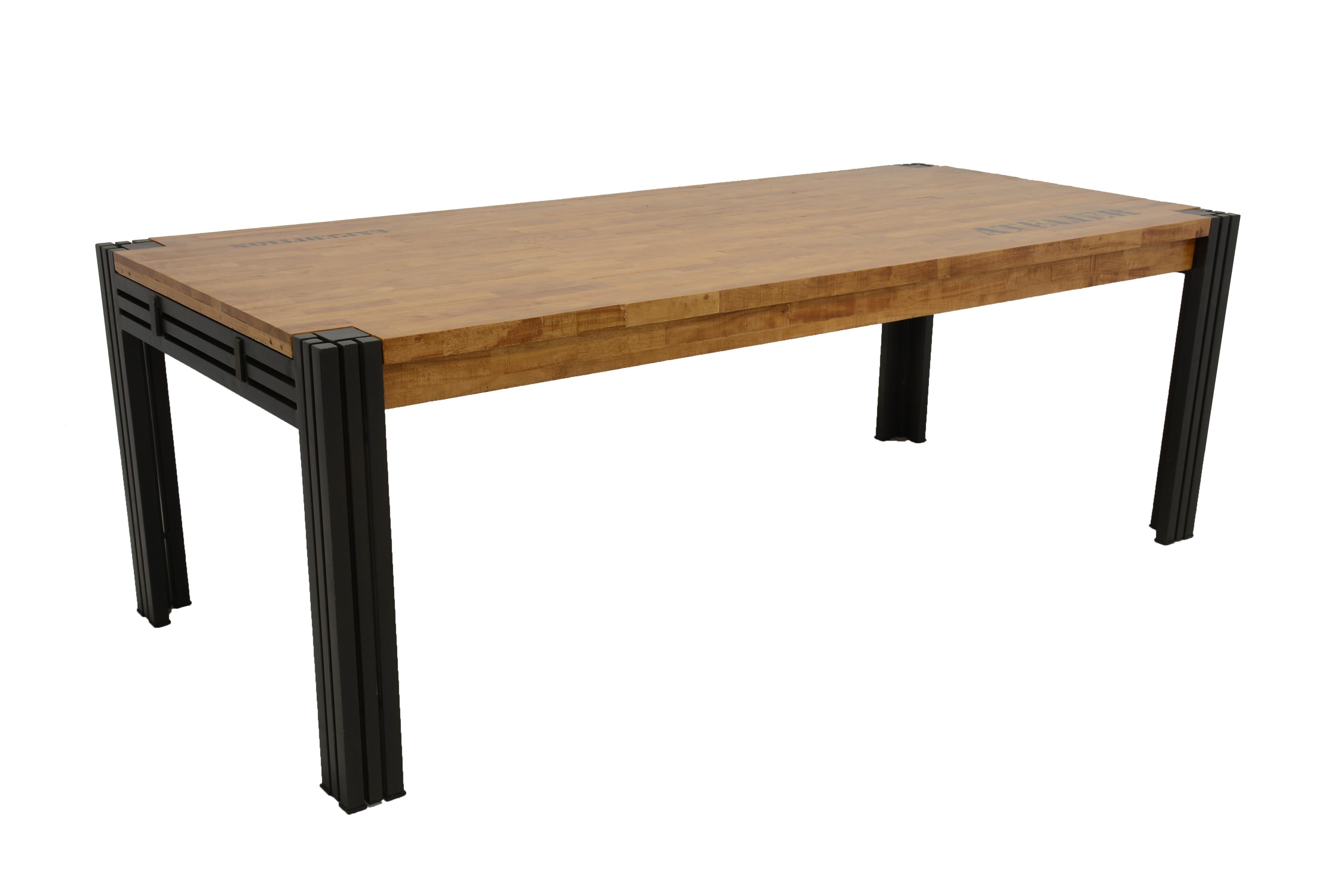 Métal Et Repas Rectangle Recyclé Extensible Hévéa Naturel Table De jc3Lq4AR5
