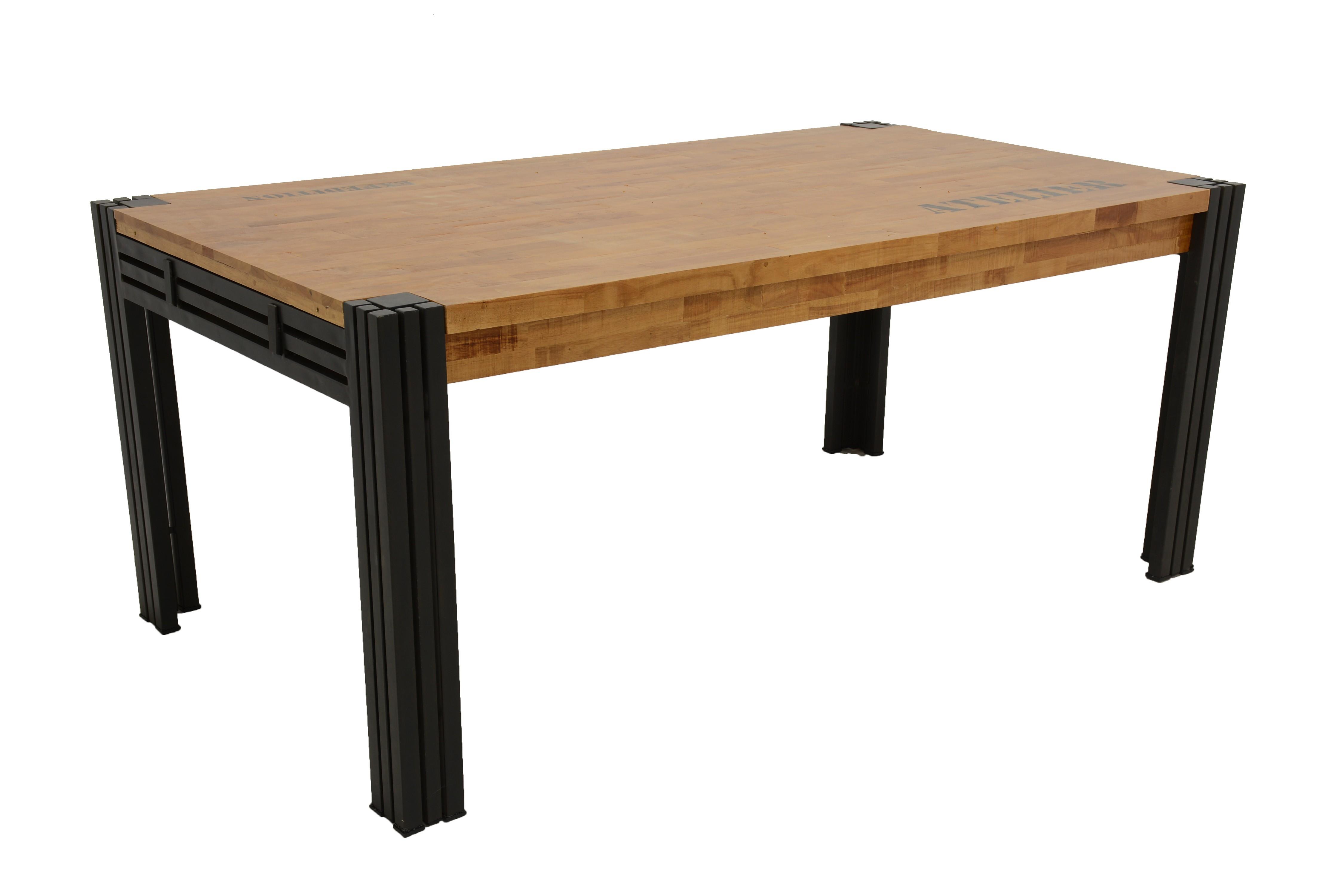 Extensible De Hévéa Rectangle Métal Et Repas Table Naturel Recyclé wPn0OX8k