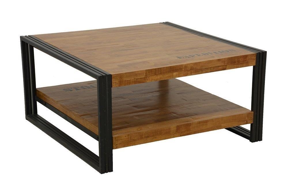 code promo d62bb e6d04 Table basse carrée hévéa recyclé naturel et métal noirci 2 plateaux  90X90X45cm DOCKER