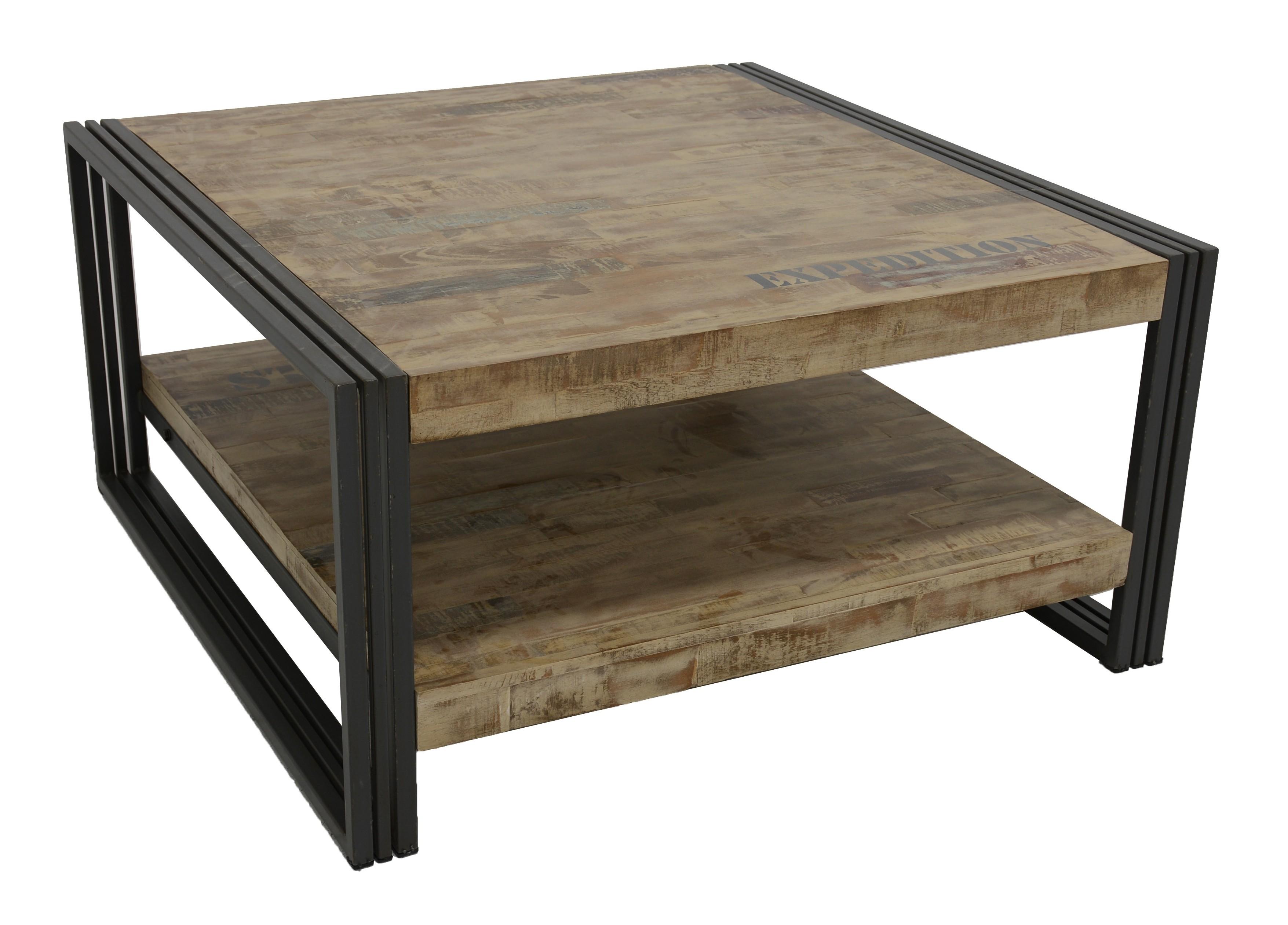 Table basse carrée hévéa recyclé blanchi et métal noirci 2 ...