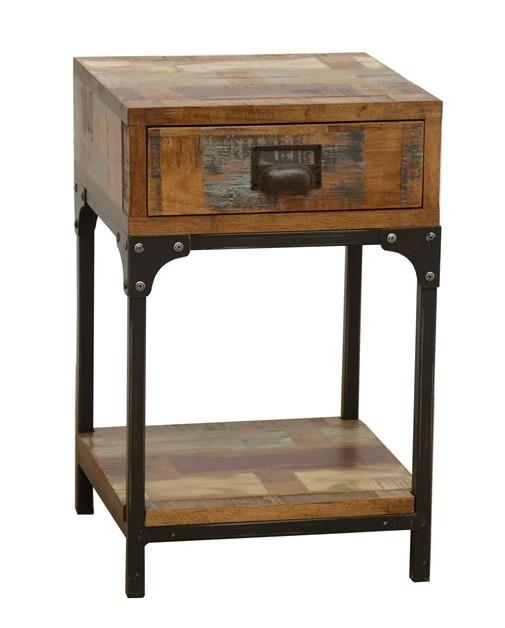 Table Hévéa recyclé LOFT 35x35x55cm tiroir1 Chevet 1 Bout Canapé et de en coloré métal plateau de bas COLORS MLUVpSzqG