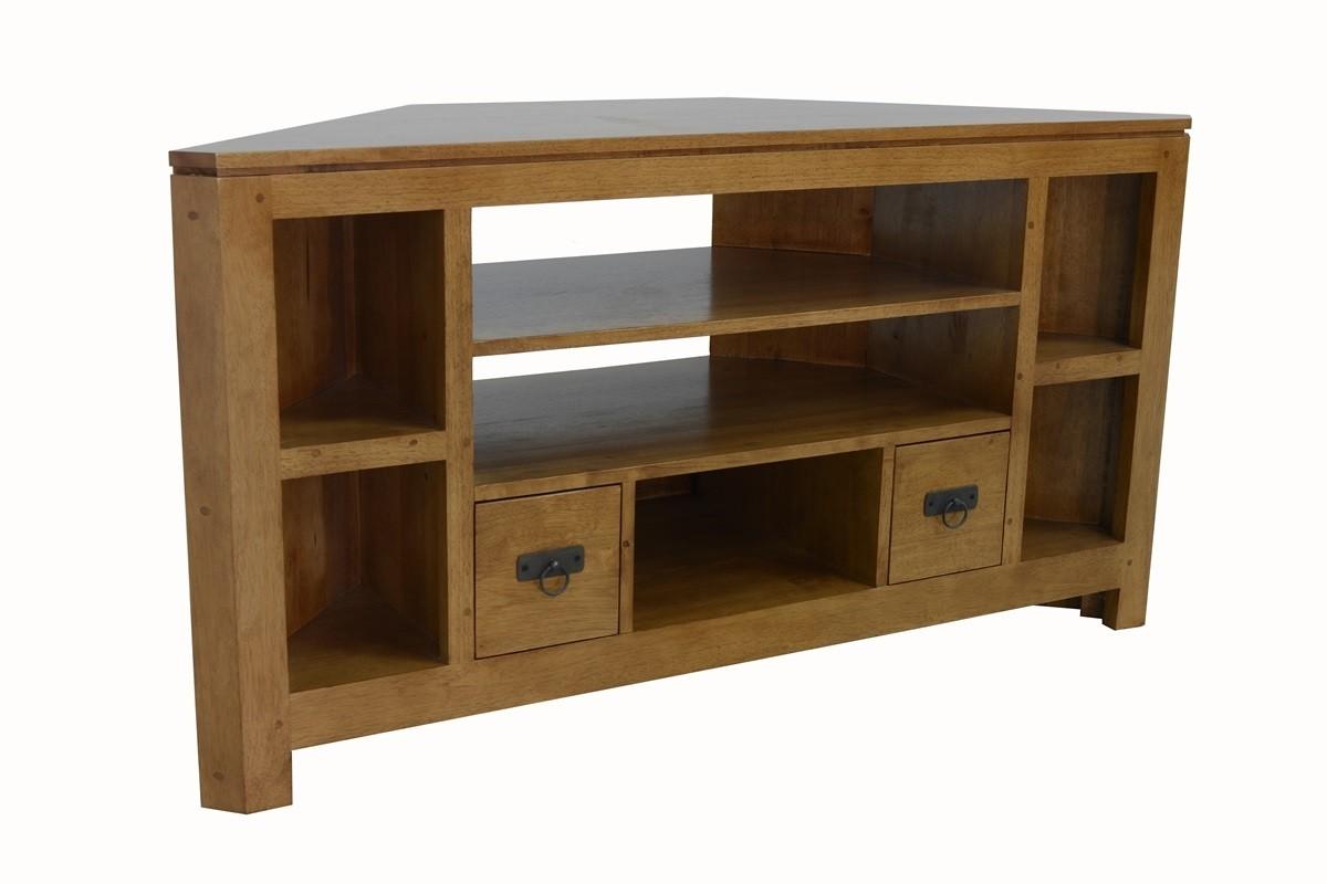 Meuble Tv Angle Bas meuble tv d'angle bois massif helena