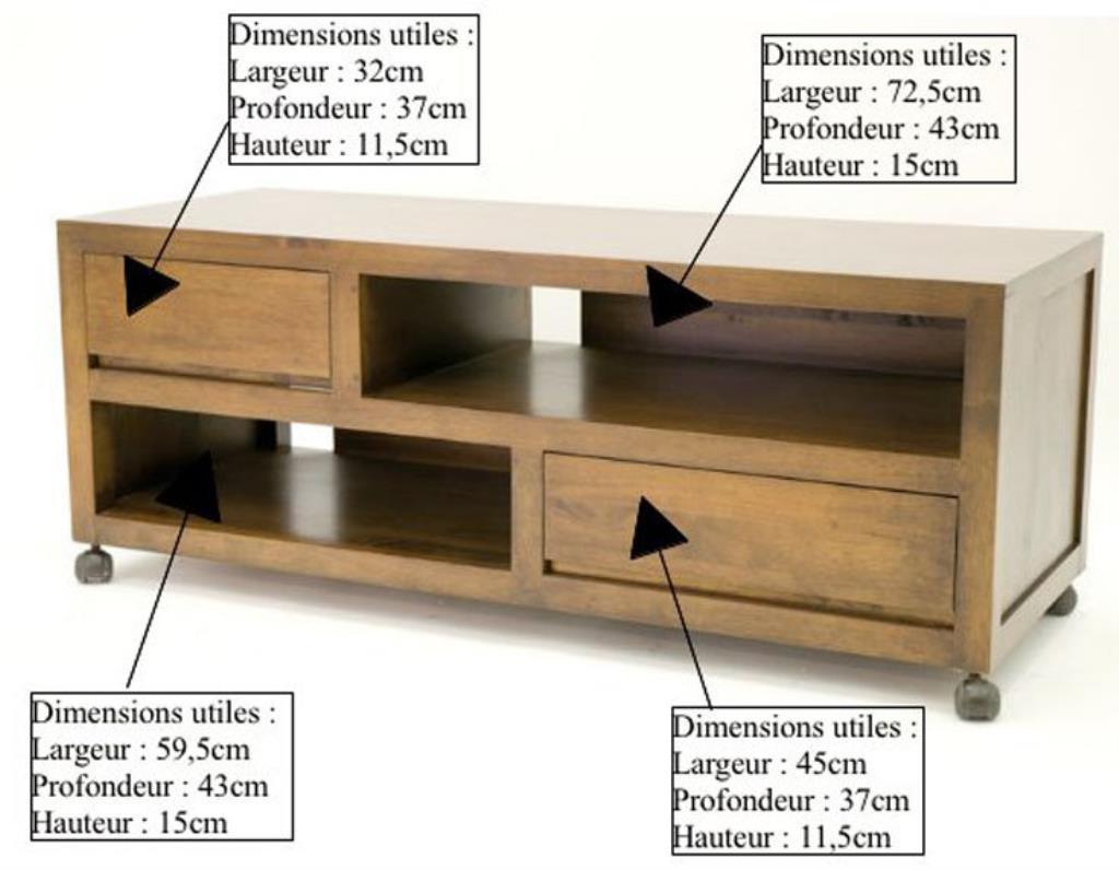 Hauteur Meuble Tele meuble tv à roulettes hévéa 120cm olga