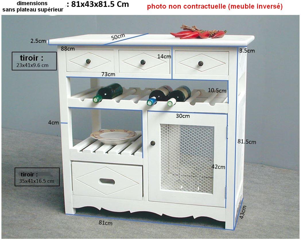 Meuble De Cuisine Arrondi meuble de cuisine hévéa 4 tiroirs, 1 porte grillagée, 1 étagère, 1 rack à  bouteilles 88,2x50x84cm tradition
