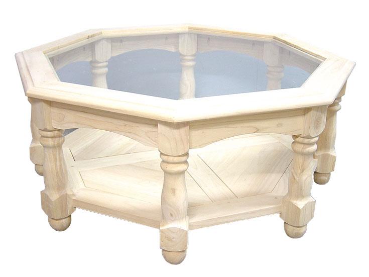 Table basse Octogonale Hévéa double plateaux, 1 plateau haut verre, 1  plateau bas bois D100xH40cm TRADITION