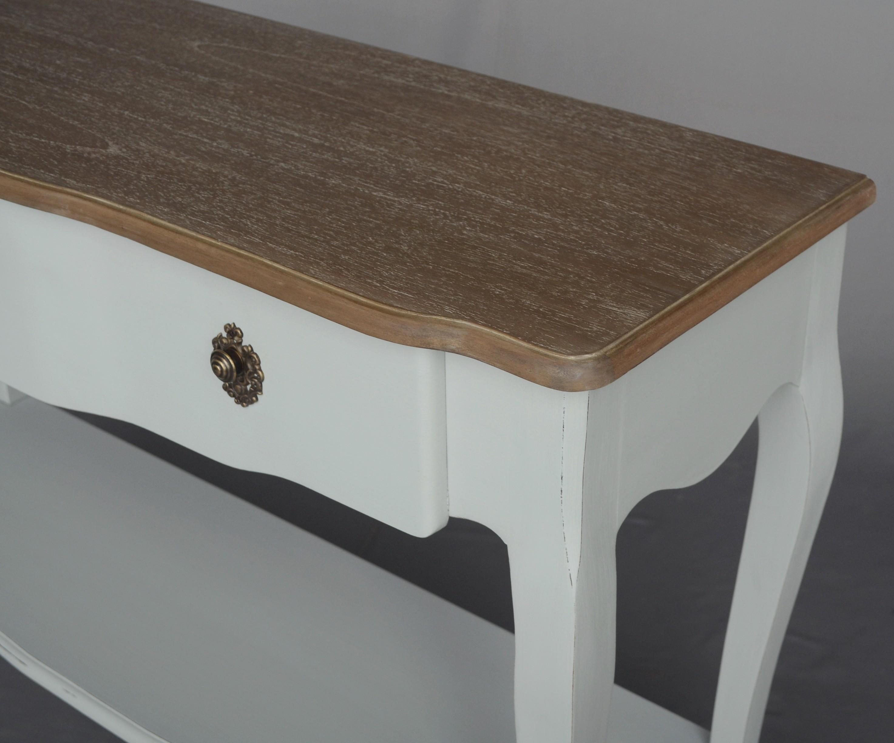 Patine Blanche Sur Bois console bicolore patine grisée, shabby chic, 2 plateaux 1 tiroir clothilde  l120xh80xp40 amadeus