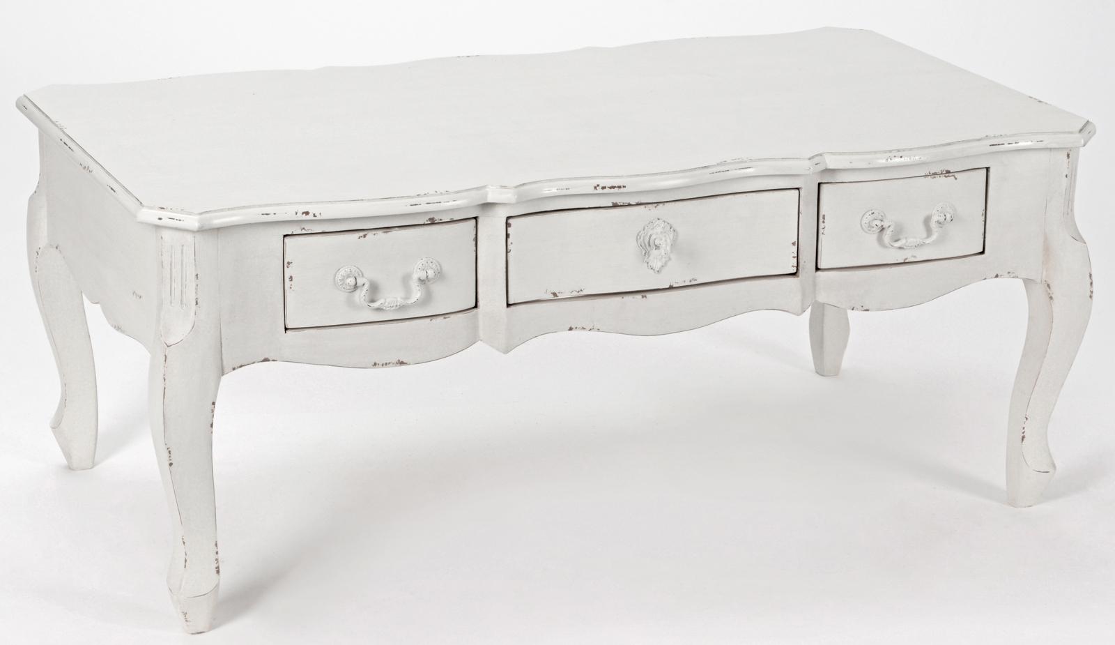 Table Basse Romantique 3 Tiroirs Harpe Long 110 X Larg 60 X H 45