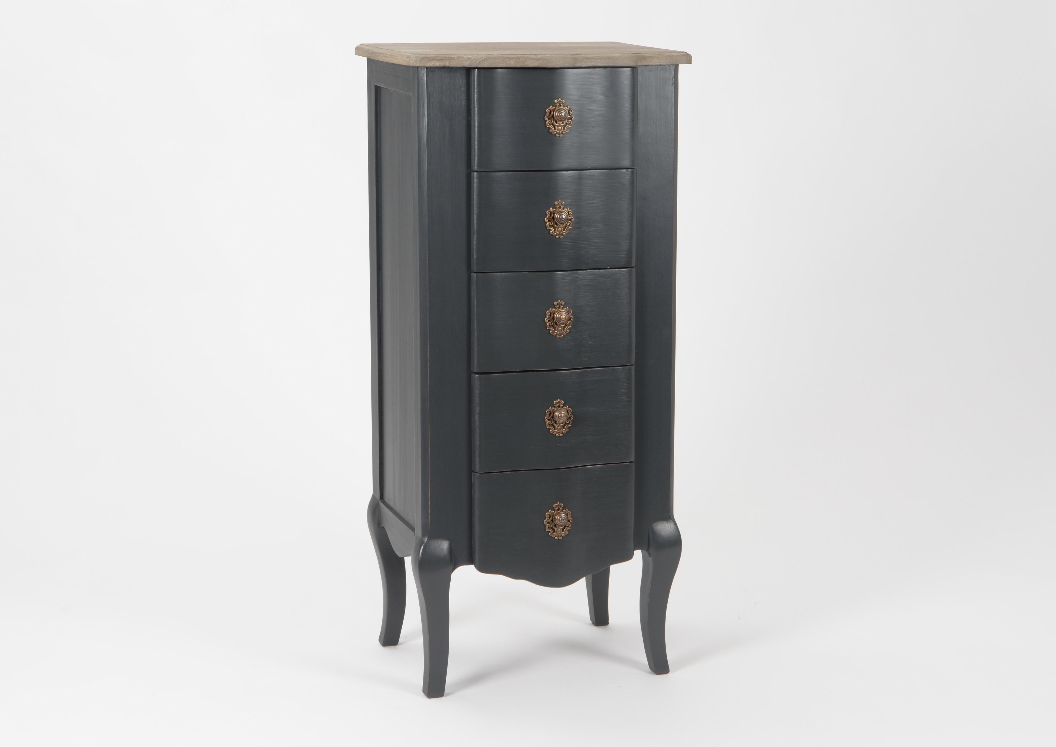 Chiffonier Baroque 5 tiroirs CELESTINE ARDOISE plateau bois naturel ...