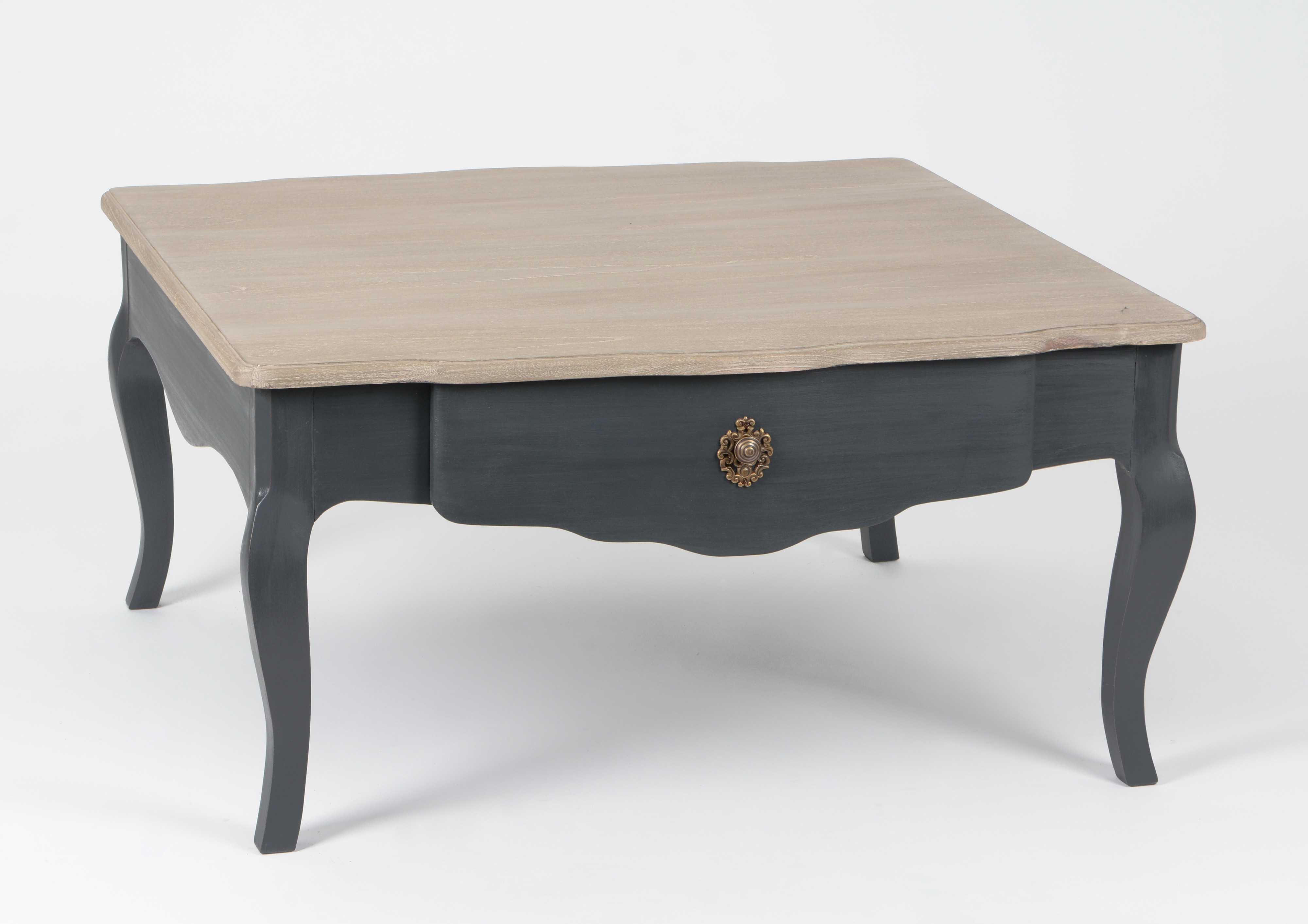 Table basse Baroque 1 tiroir CELESTINE ARDOISE plateau bois naturel  90x90x45cm AMADEUS