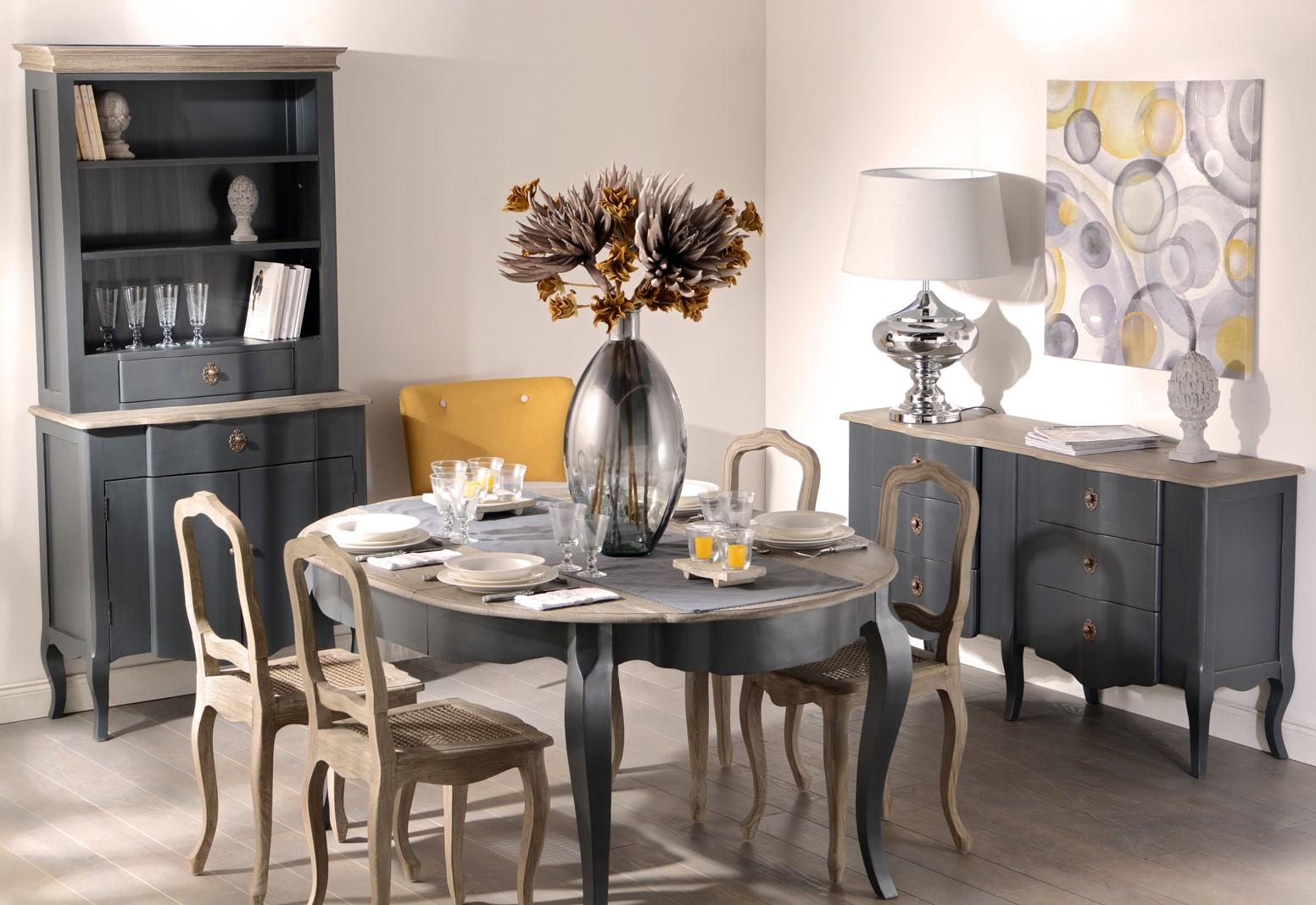 Table de repas ronde Baroque CELESTINE ARDOISE plateau bois naturel  120/160x120x77cm AMADEUS