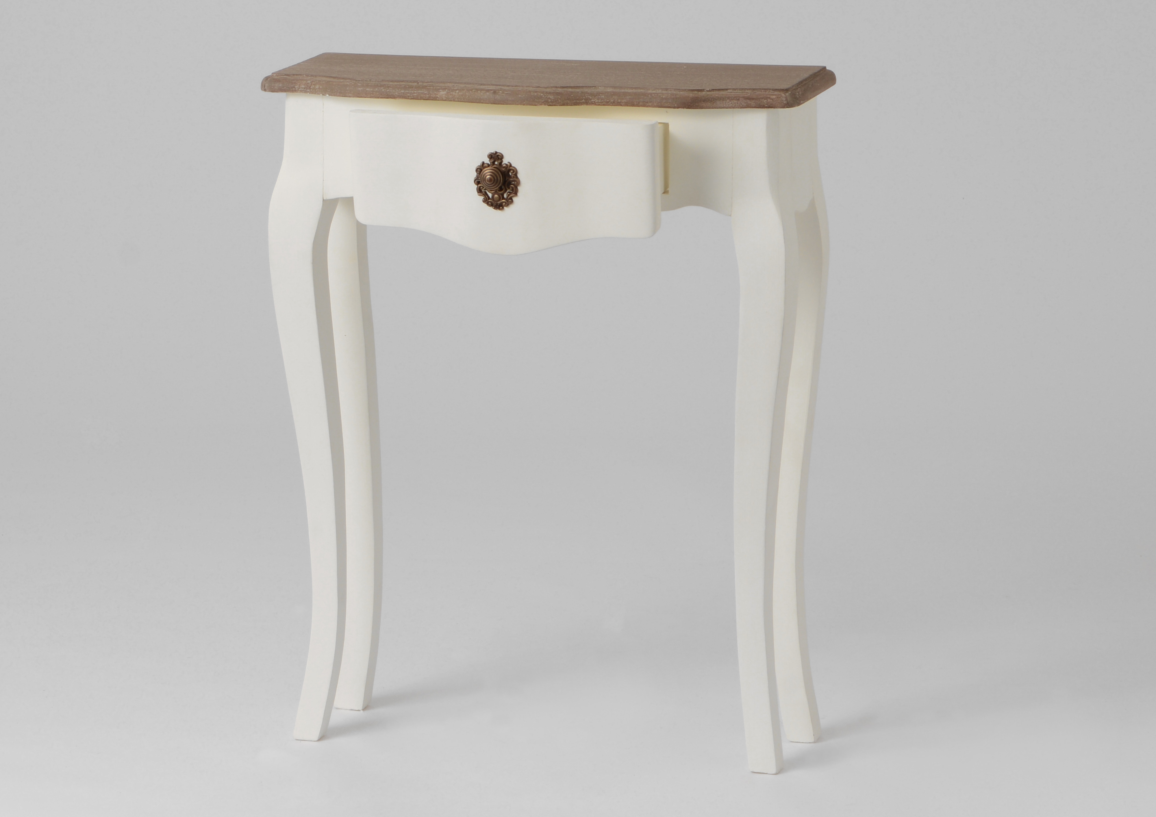 Console de Table Baroque Tiroirs Marqueterie Bois Mur