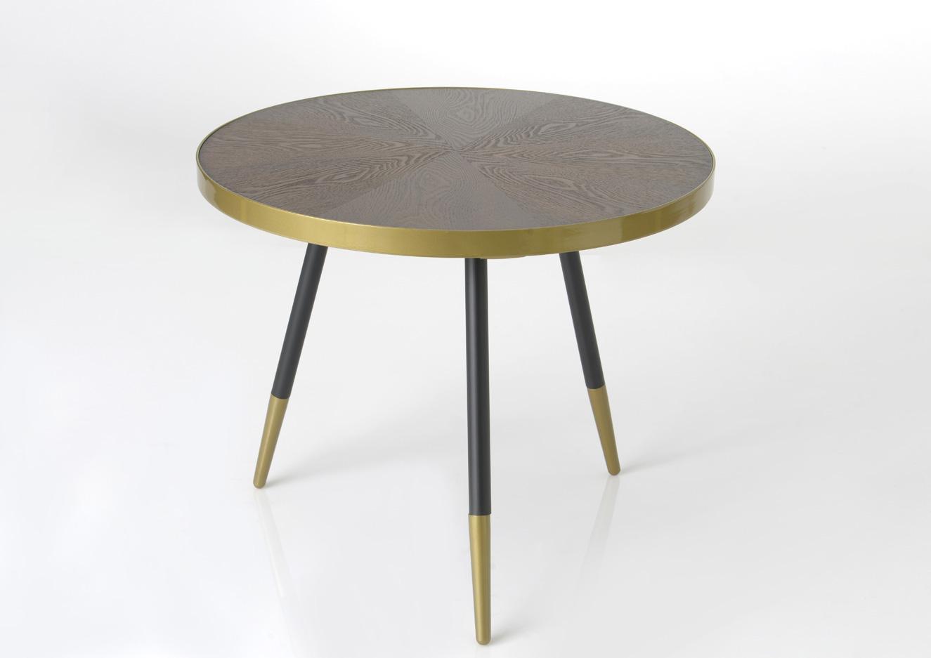 Table Basse Ronde Art Deco table basse plateau avec effets et cerclage doré et pieds noirs et dorés  d81xh45cm art-deco