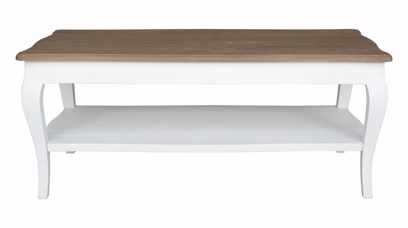 Grande Table Basse Bois table basse bois massif double plateau blanc prague ref. 30020694