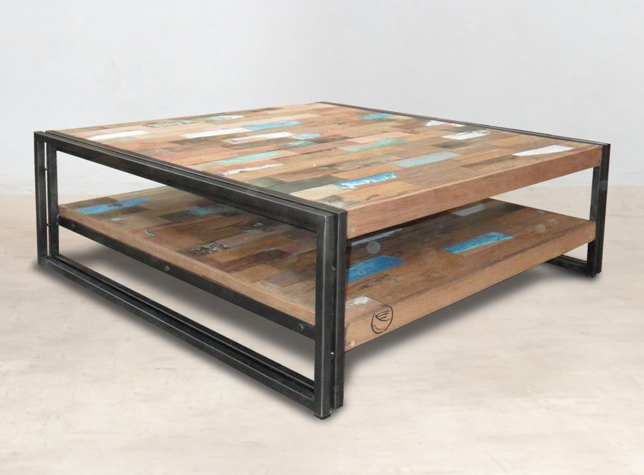 meilleur service 42866 ec18a Table basse carrée bois recyclé double plateaux 100x100 CARAVELLE
