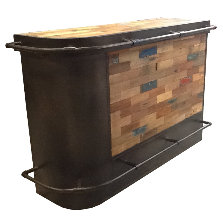 À Gauche Meuble Bois Caravelle Recyclé Arrondi Bar 164x60 vynwm80NO