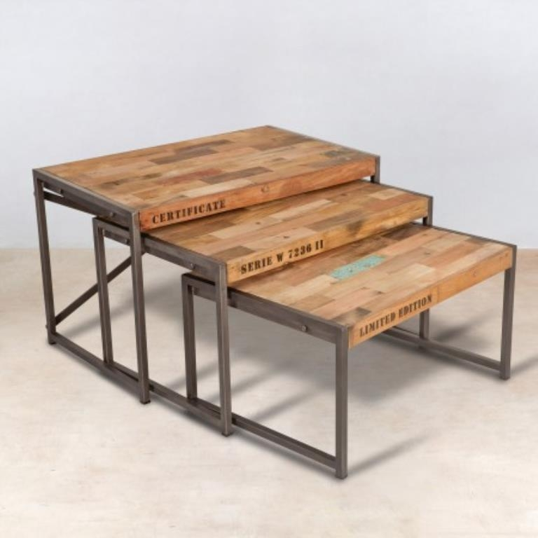 Table Gigogne X3 Bois Recycle 80x50 Caravelle