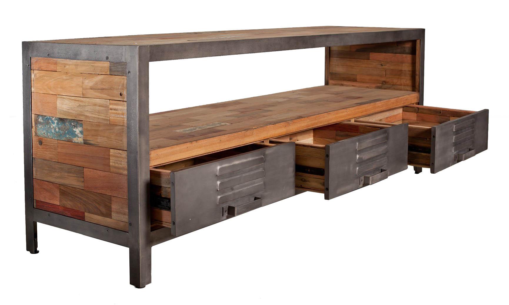 Hauteur Meuble Tele meuble tv métal bois recyclé 3 tiroirs caravelle