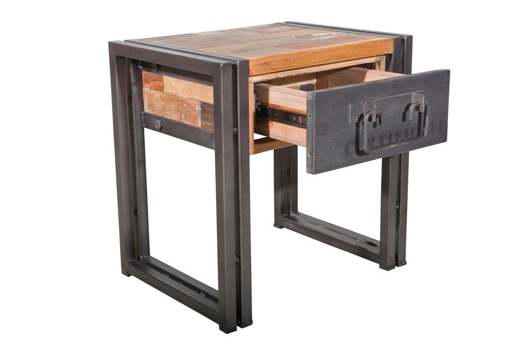 40x30x40cm canapé Table Bout de CARAVELLE chevet tiroir recyclé de bois 1 qj3ARc5L4