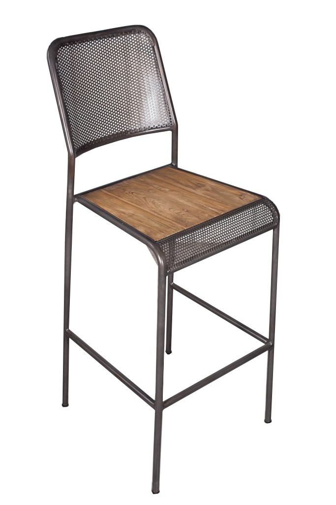 Chaise De Bar Metal Recycle Perforee 46x49x112cm CARAVELLE