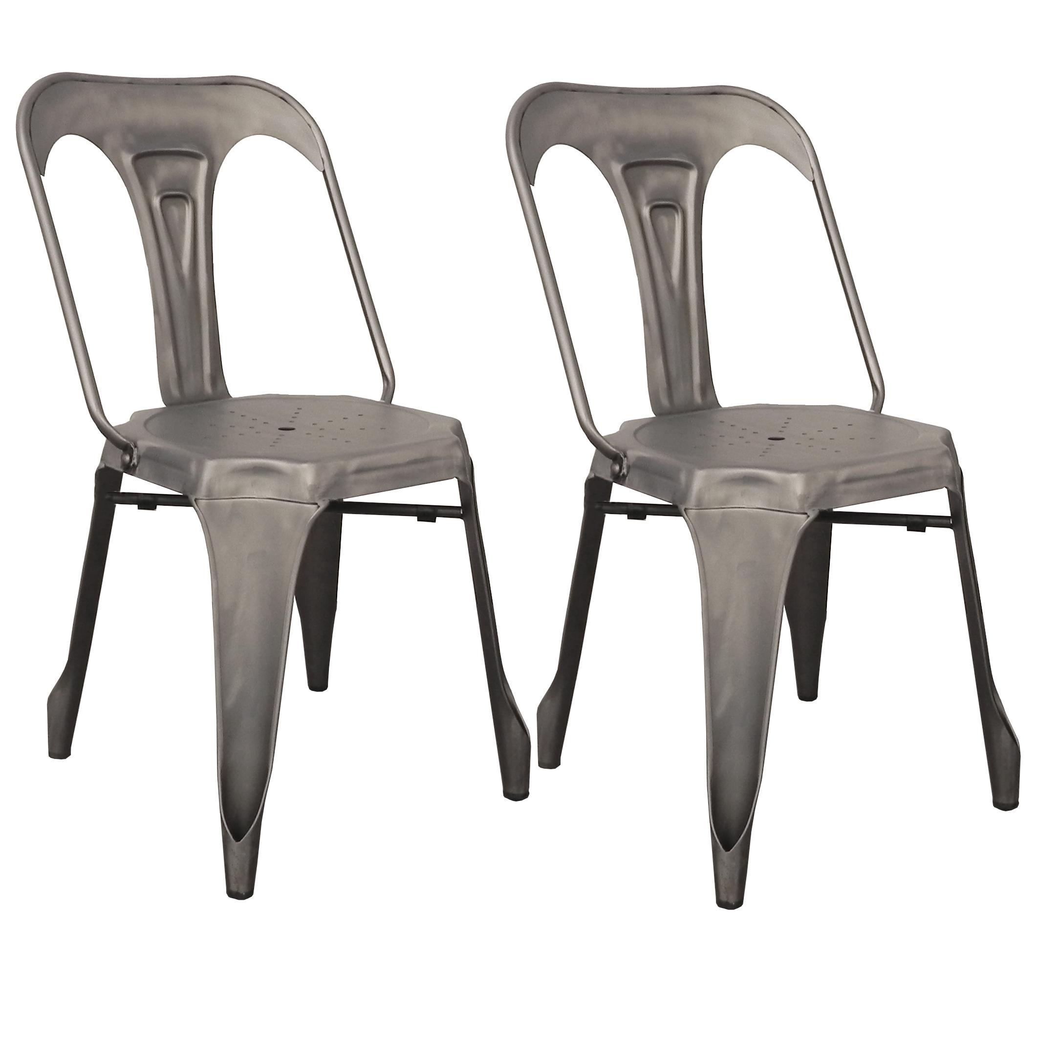 Chaise Bois Et Metal Industriel lot de 2 chaises style industriel en métal couleur chrome satiné  44x53xh83cm ralf