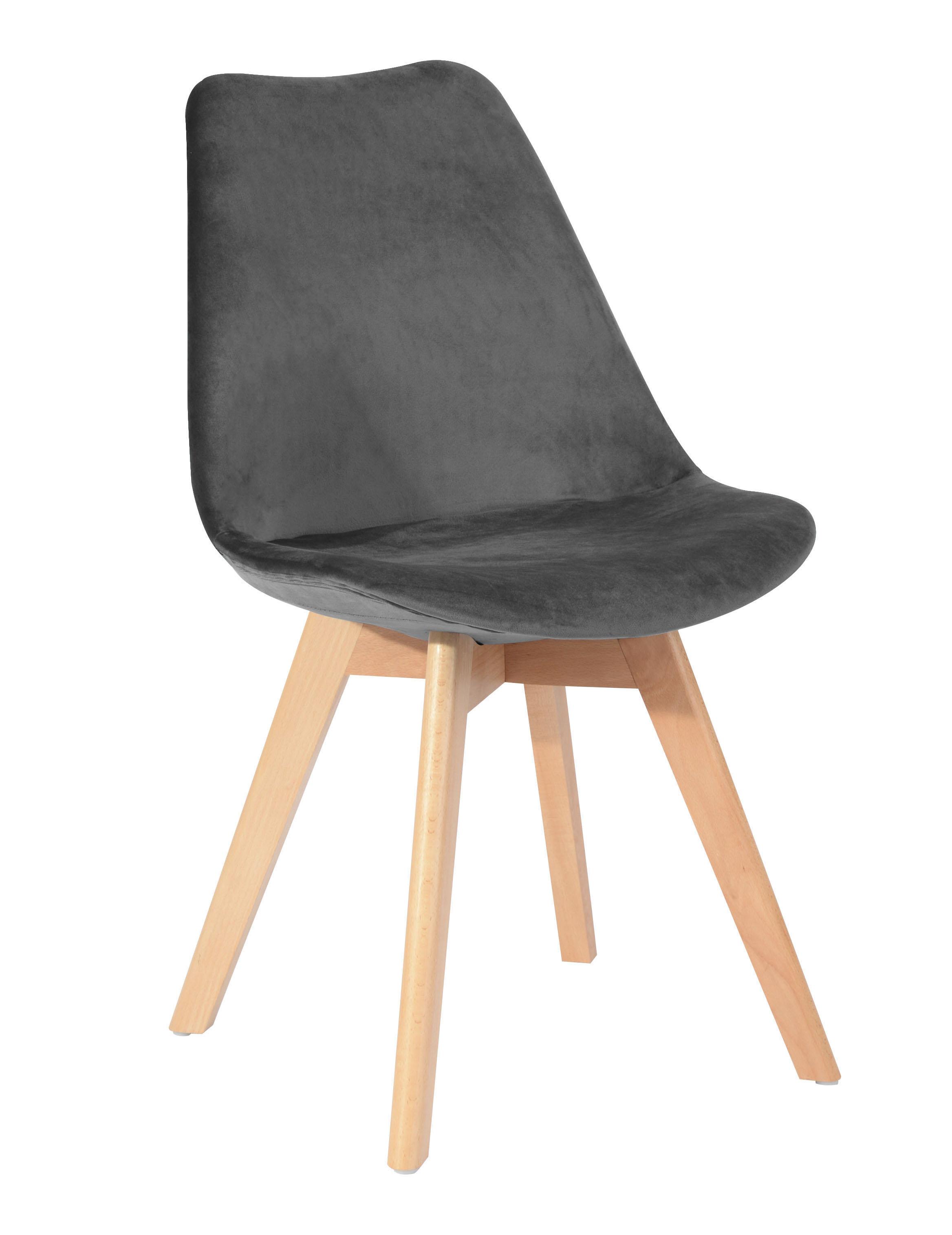 Chaise scandinave en velours gris anthracite 49x53xH84cm STOCKHOLM