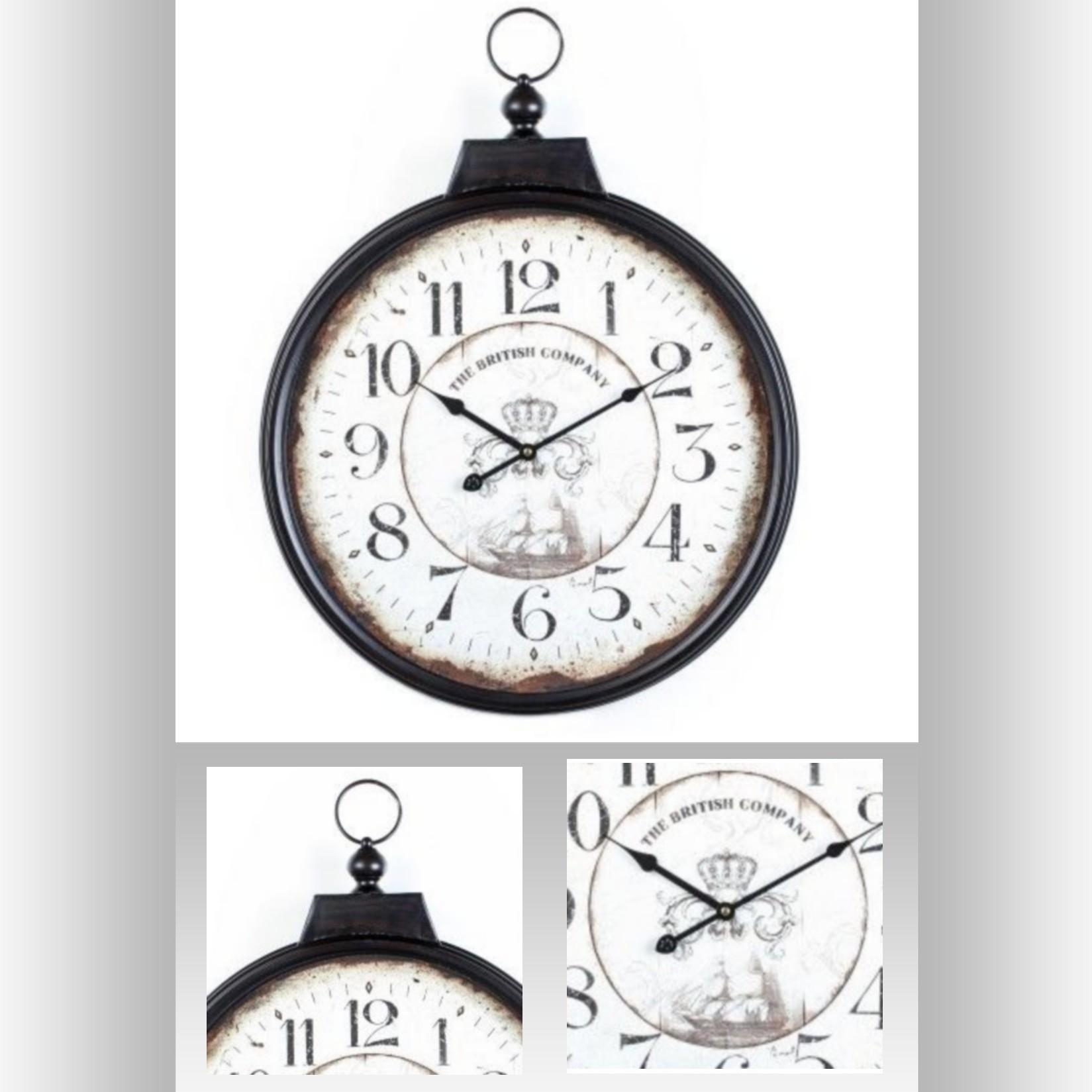 5f4bb653ec2 Pendule murale style Vintage façon montre gousset en métal et verre ...