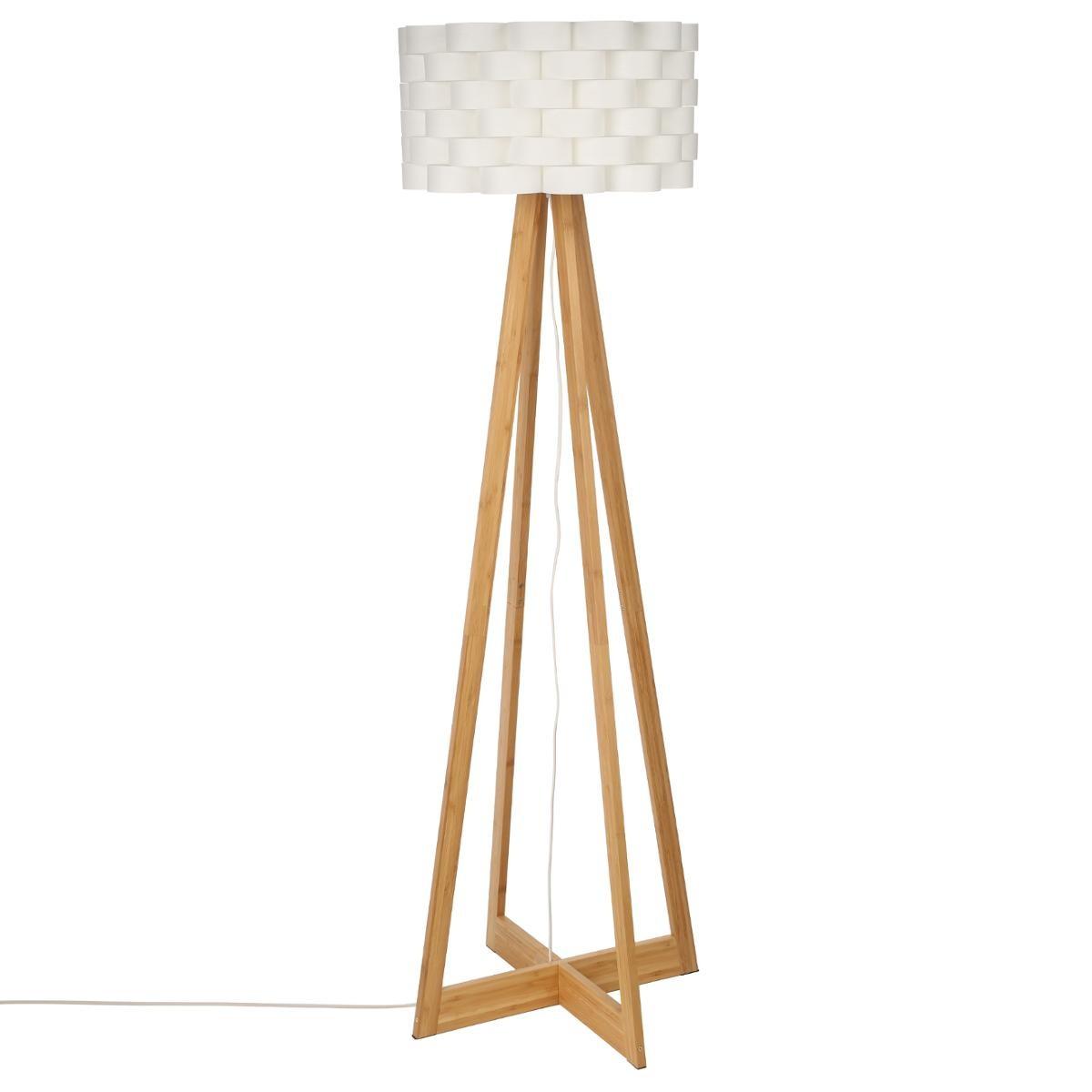 Lampadaire Pied Croisé Bambou Naturel Et Abat Jour écru Forme Fleur  D50xH150cm