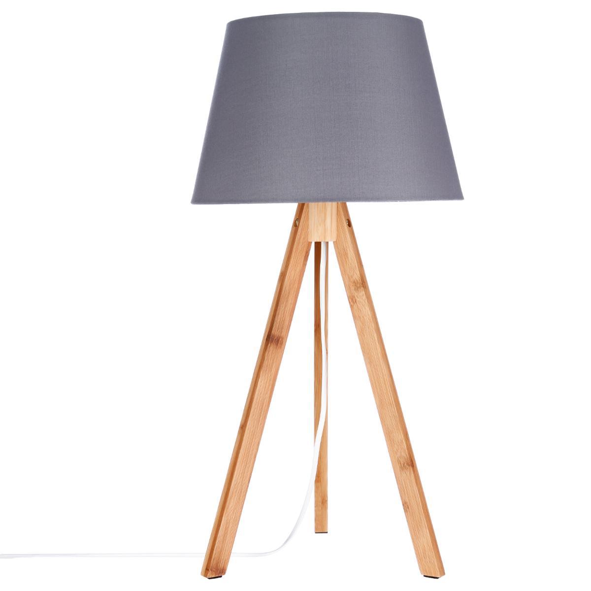 Forme Et Bambou Foncé Abat D28xh55cm Coton En Trépied Gris Lampe Jour MVLGqUSzp