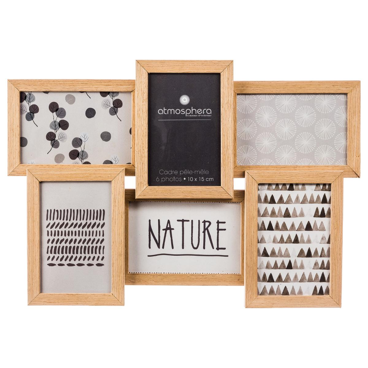 cadre pêlemêle bois naturel 6 photos 41x31cm  cadres
