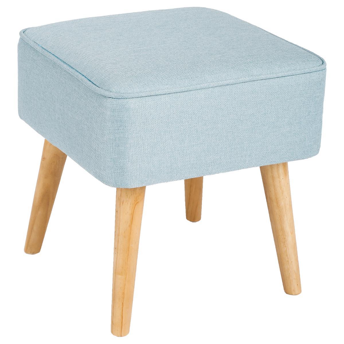 magasin en ligne e584d d5f55 Tabouret pouf carré esprit Scandinave en tissu bleu clair et pieds bois  40x40x40cm