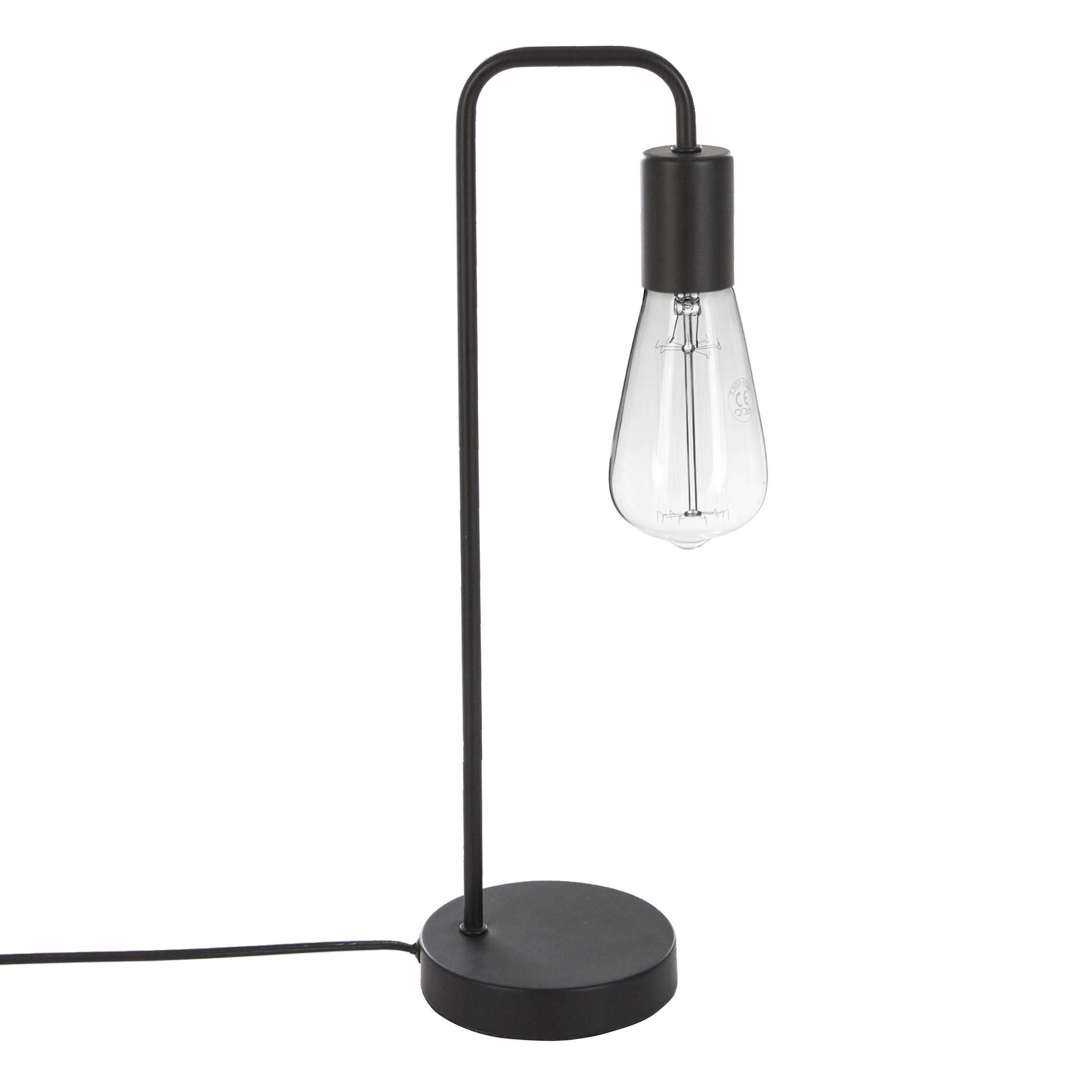 Lampe de chevet en métal noir avec ampoule apparente H46cm