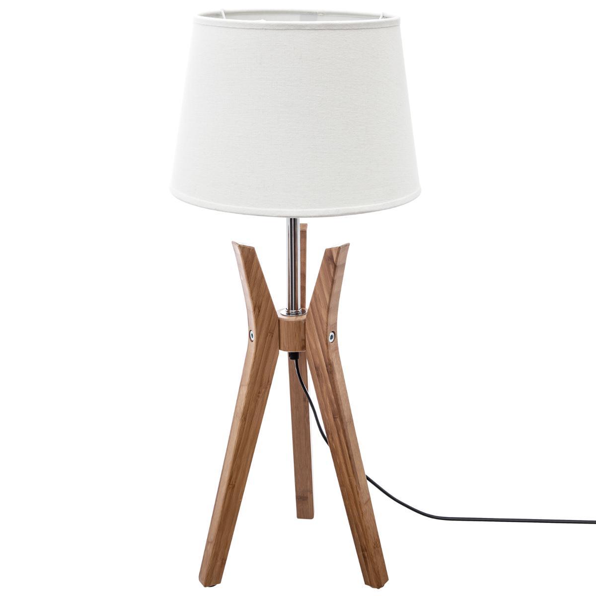 Bambou H65cm Et Lin Couleur Lampe Abat Trépied En Jour 7fb6gy