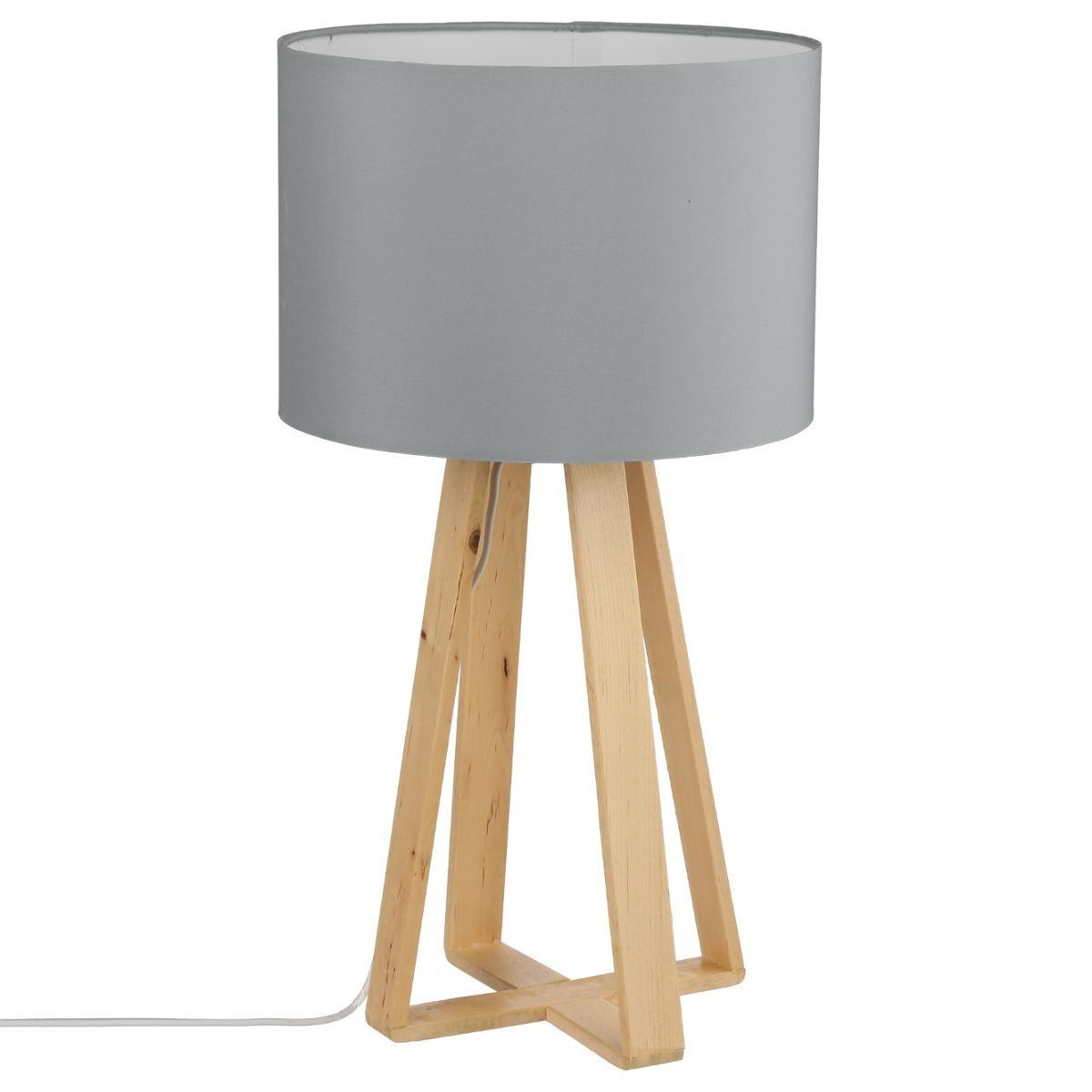 Bois Et Pieds Style Naturel Scandinave Lampe H47 Abat Jour 5cm Gris 354jARL