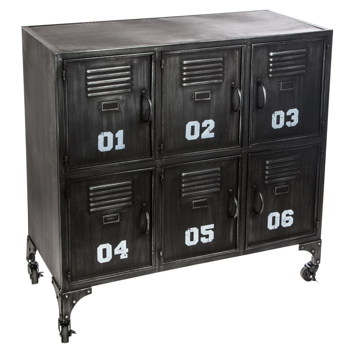 Meuble De Rangement Metal Noir.Meuble Rangement Metal Noir 6 Portes Ref 3002207