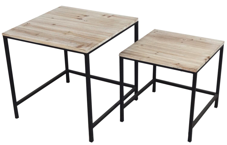 photos officielles 8030e 803bc Lot de 2 tables d'appoint / Bout de canapé bois naturel et piètement métal  50x50x50/57cm LALI