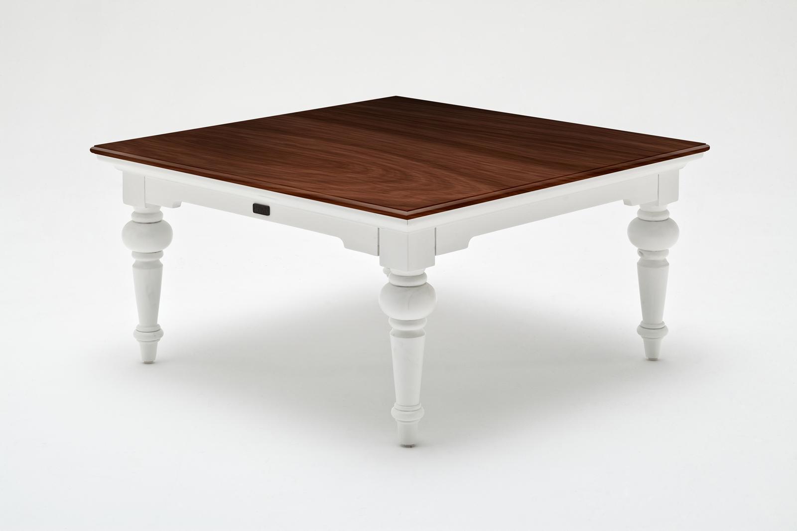 Table Basse Carree En Bois Blanc Avec Plateau Acajou