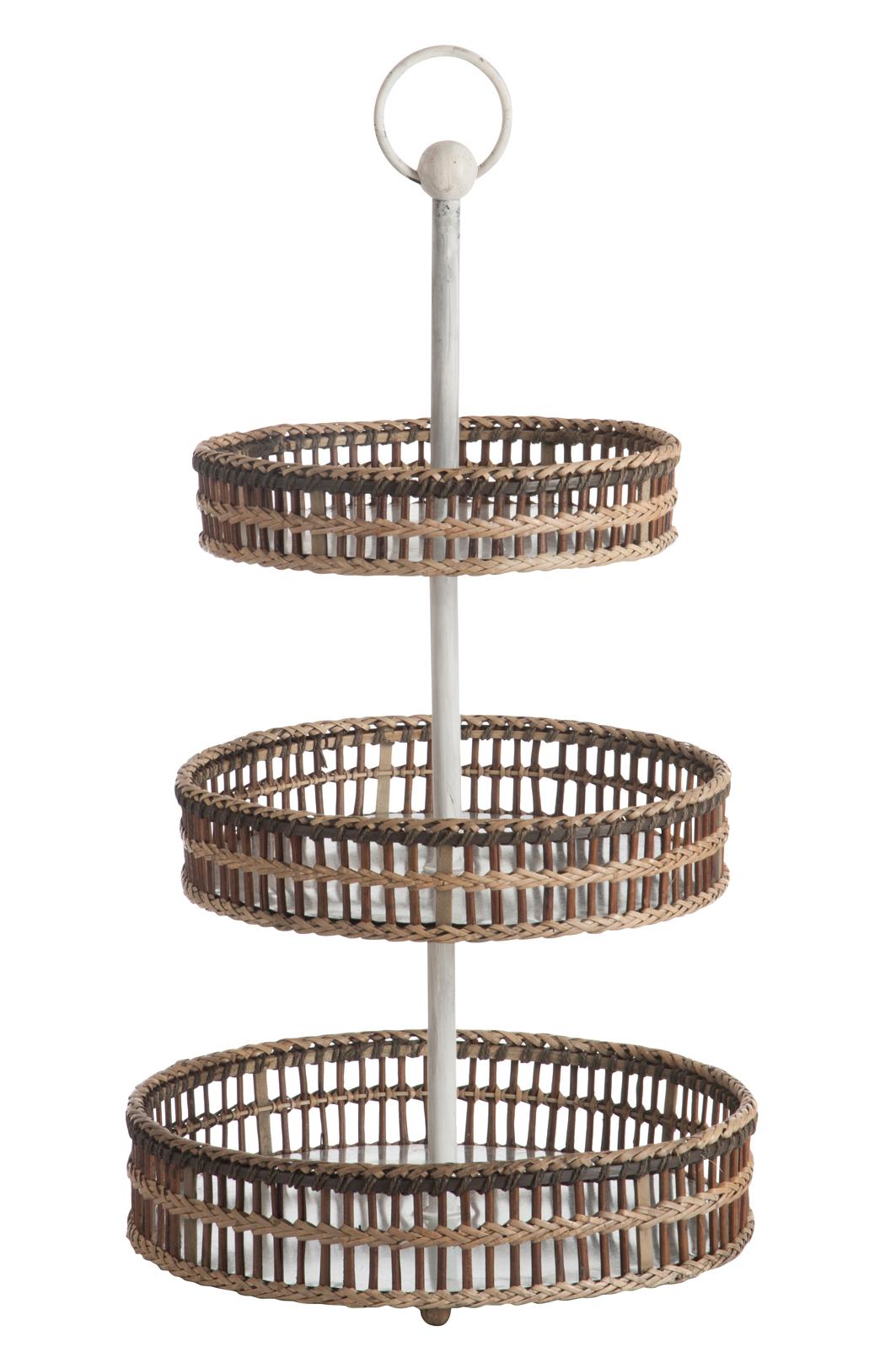 Serviteur Et Blanc RotinArmature 3 Bambou Niveaux 45x45x77cm Etagère P0wk8nO