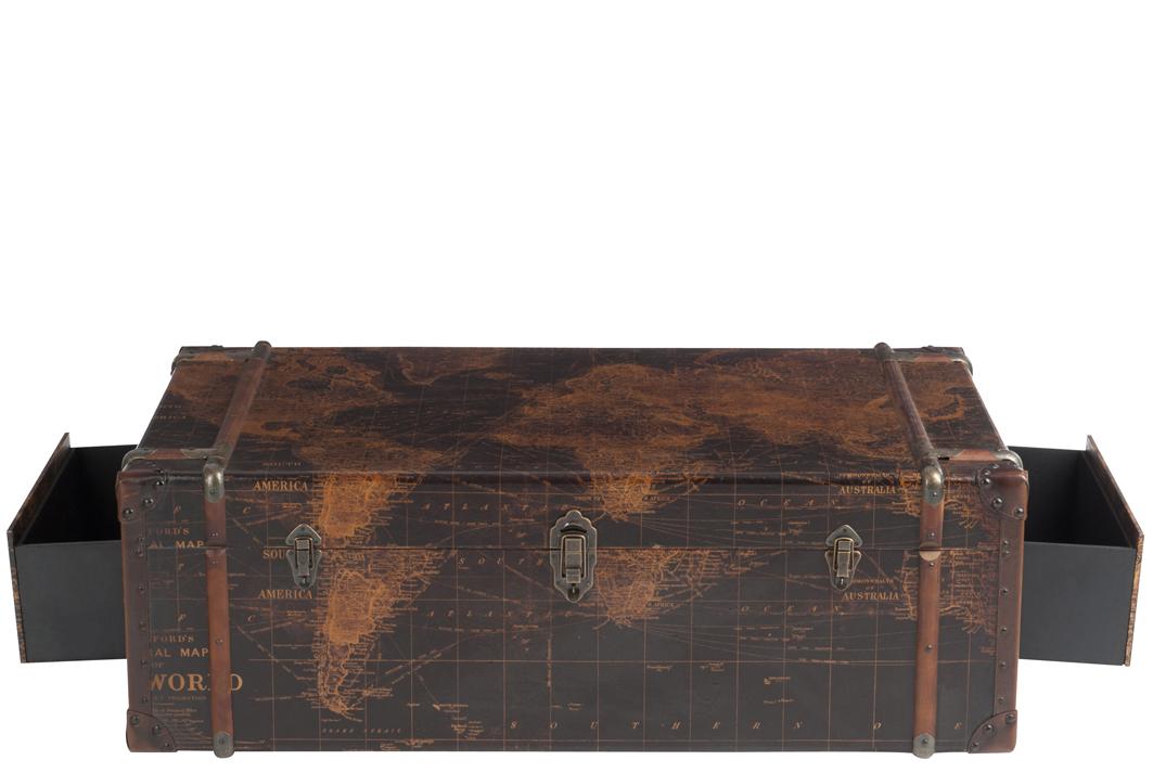 Table Basse Coffre Motif Carte Du Monde 122x72x42cm